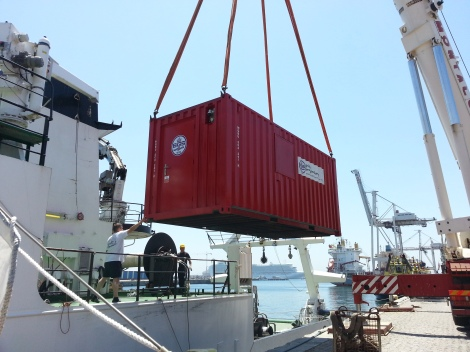 BGS container finally here and being loaded