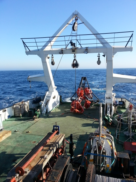 BGS vibrocore on deck during transit