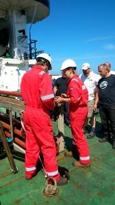 The BGS team processing a core on deck.